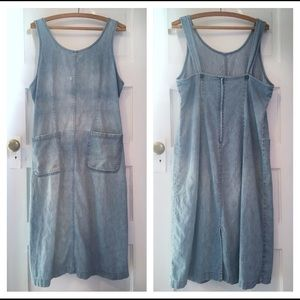 Vintage LL Bean denim overall jumper dress